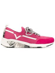Diesel Lace Up Runner Sneakers Pink And Purple