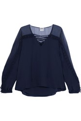 Haute Hippie Lace Up Crochet Trimmed Silk Crepe Top Midnight Blue