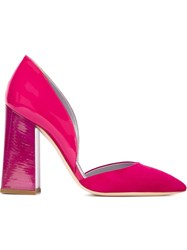 Pollini Bell Heel Pumps Pink And Purple