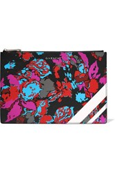 Givenchy Floral Print Faux Textured Leather Pouch Pink