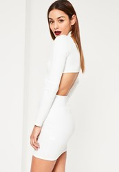 Missguided White Scuba High Neck Cut Out Back Detail Bodycon Dress