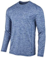 Greg Norman For Tasso Elba Men's Long Sleeve Heathered Tech T Shirt Created For Macy's Blue Socket Tpd