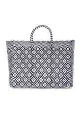 Truss Large Sunset Tote In Black White Checkered And Plaid