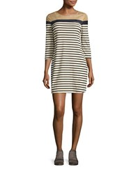 Design Lab Lord And Taylor Three Quarter Sleeve Striped Shift Dress Cream Navy