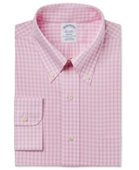 Brooks Brothers Men's Regent Classic Fit Non Iron Pink Plaid Dress Shirt