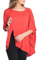 Bun Maternity Women's Draped Nursing Top Flame