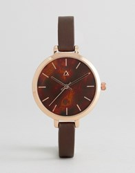 Asos Large Face Skinny Strap Watch With Tortoise Shell Affect Dial Brown