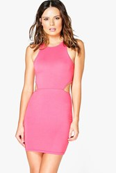Boohoo Cut Out Racer Bodycon Dress Coral