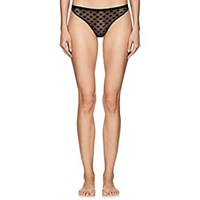 Land Of Women French Dot Mesh Thong Black