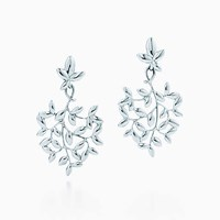 Tiffany And Co. Paloma Picasso Olive Leaf Drop Earrings In Sterling Silver Small.