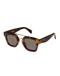 Celine Square Monochromatic Acetate And Metal Sunglasses Brown Pattern