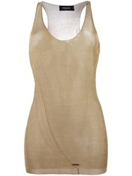 Dsquared2 Transparent Tank Top Metallic