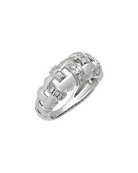 Tiffany And Co. Estate 18K White Gold Diamond Woven Band Ring Size 5