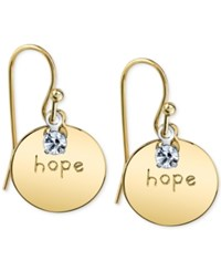 2028 14K Gold Plated Crystal Accent Hope Drop Earrings