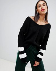 Boohoo V Neck Contrast Stripe Sweater In Black Black