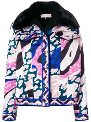 Emilio Pucci Faux Fur Printed Jacket Pink And Purple
