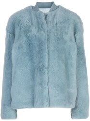 Jil Sander Faux Fur Bomber Jacket Blue