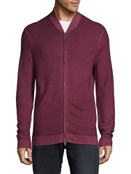 Saks Fifth Avenue Black Wool Baseball Cardigan Burgundy