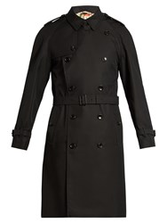 Gucci Bee Embroidered Cotton Drill Trench Coat Black