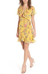 Lush Colie Ruffle Wrap Dress Mustard Wine Floral