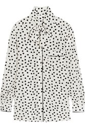 Dolce And Gabbana Pussy Bow Polka Dot Silk Crepe De Chine Blouse White