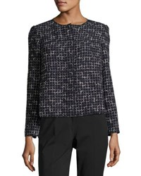 Lafayette 148 New York Dani Tempered Tweed Snap Front Jacket Navy