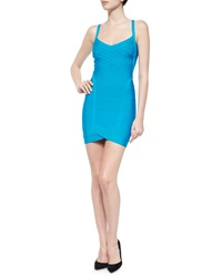 Herve Leger Crisscross V Neck Bandage Dress