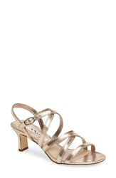 Nina Women's Genaya Strappy Evening Sandal Taupe Faux Suede