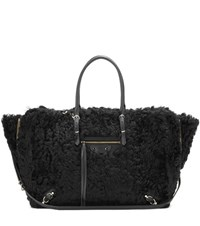 Balenciaga Papier B4 Zip Around Shearling Shoulder Bag Black