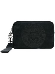 Balmain Logo Embossed Wash Bag Black