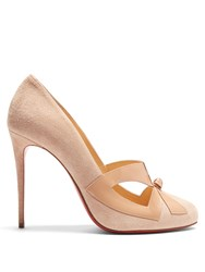 Christian Louboutin Bow Me Dear Suede Pumps Nude