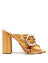 Miu Miu Crystal And Pearl Embellished Satin Mules Gold
