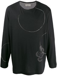 Yohji Yamamoto Printed Detail Long Sleeve Top Black