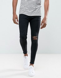 Rose London Super Skinny Jeans With Distressing Black