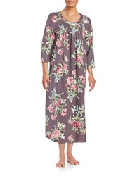 Carole Hochman Printed Flannel Long Gown Grey