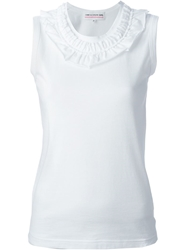 Comme Des Garcons Girl Ruffle Collar Tank Top White