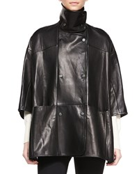 Vince Double Breasted Leather Cape Women's Nmx Shiraz