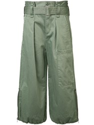 Marc Jacobs Flared Cropped Trousers Women Cotton 2 Green