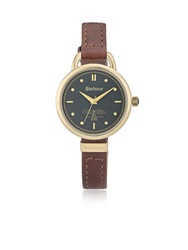 Barbour Finlay Stitched Slim Leather Watch Brown Brown