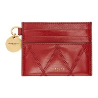 Givenchy Red Quilted Gv3 Card Holder