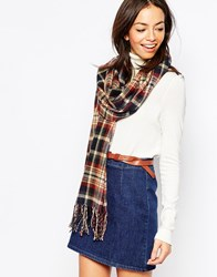 New Look Winter Check Scarf Navy