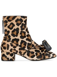 N 21 No21 Leopard Print Pony Hair Ankle Boots Leather Pony Fur Black