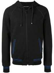 Dolce And Gabbana Contrast Trim Zip Hoodie Black