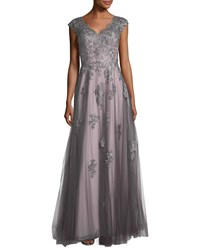La Femme V Neck Embroidered Mesh Evening Gown Pink Gray