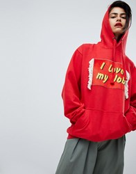 House Of Holland Unisex I Love My Job Hoodie Red