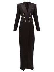 Balmain Tailored Slit Front Wool Crepe Gown Black