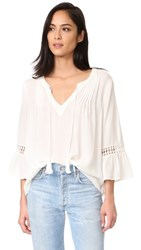 Maven West Peasant Ruffle Top White
