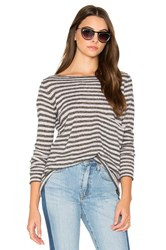 Autumn Cashmere Striped Boatneck Sweater Gray