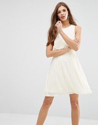 Lavand Pleated Skirt Skater Dress In White Beige