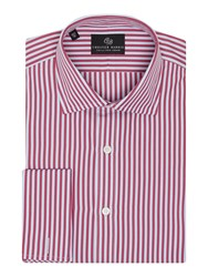 Chester Barrie Stripe Tailored Fit Long Sleeve Classic Collar Fo Wine